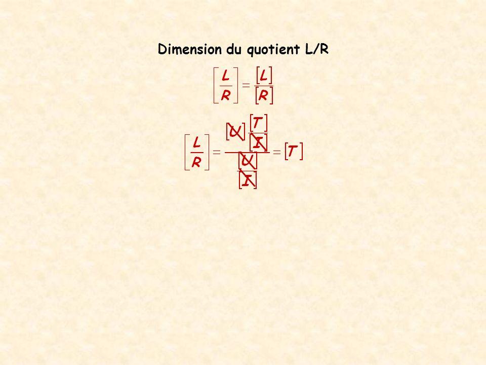 Quelle est la dimension du quotient L/R ?