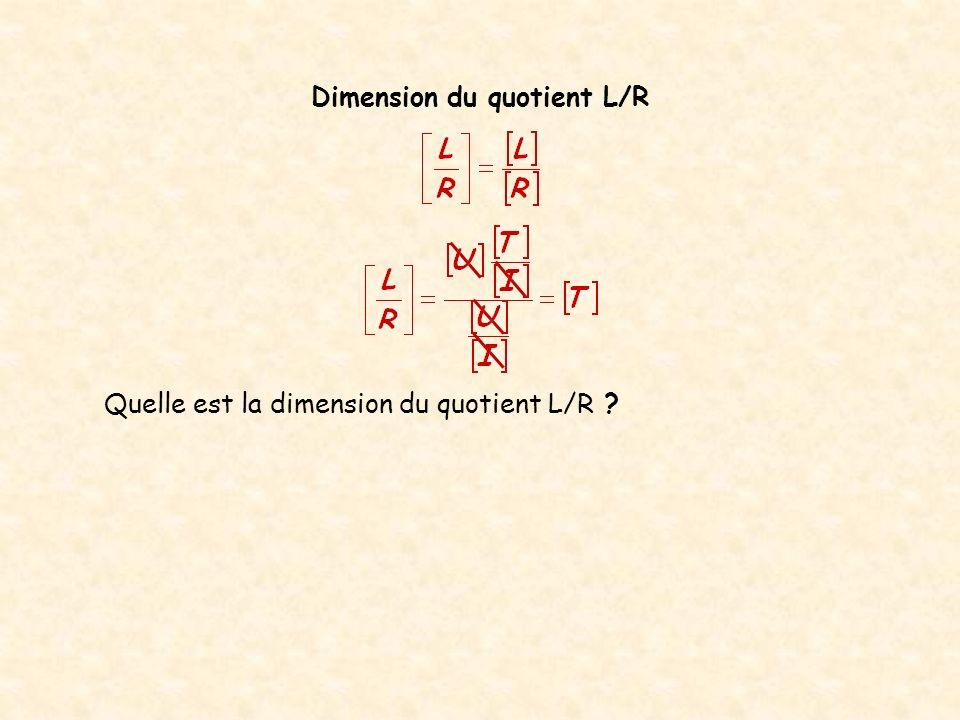 Dimension du quotient L/R Quelle est la dimension du quotient L/R .