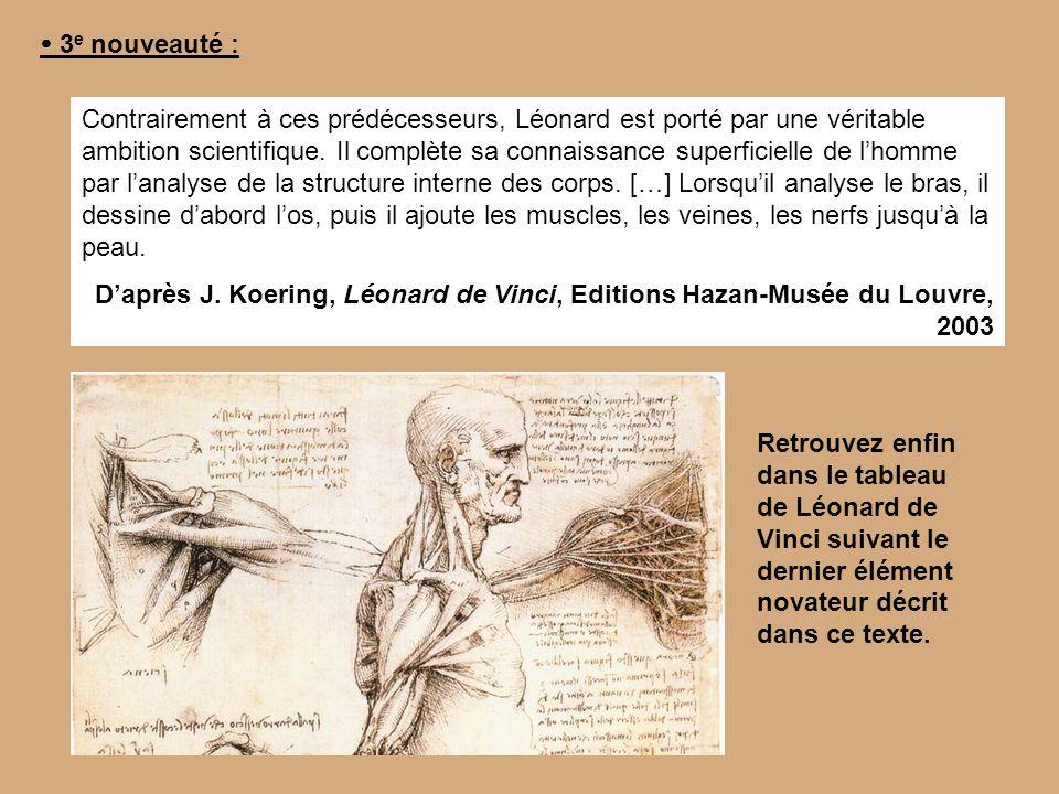 3 e nouveauté : Contrairement à ces prédécesseurs, Léonard est porté par une véritable ambition scientifique. Il complète sa connaissance superficiell