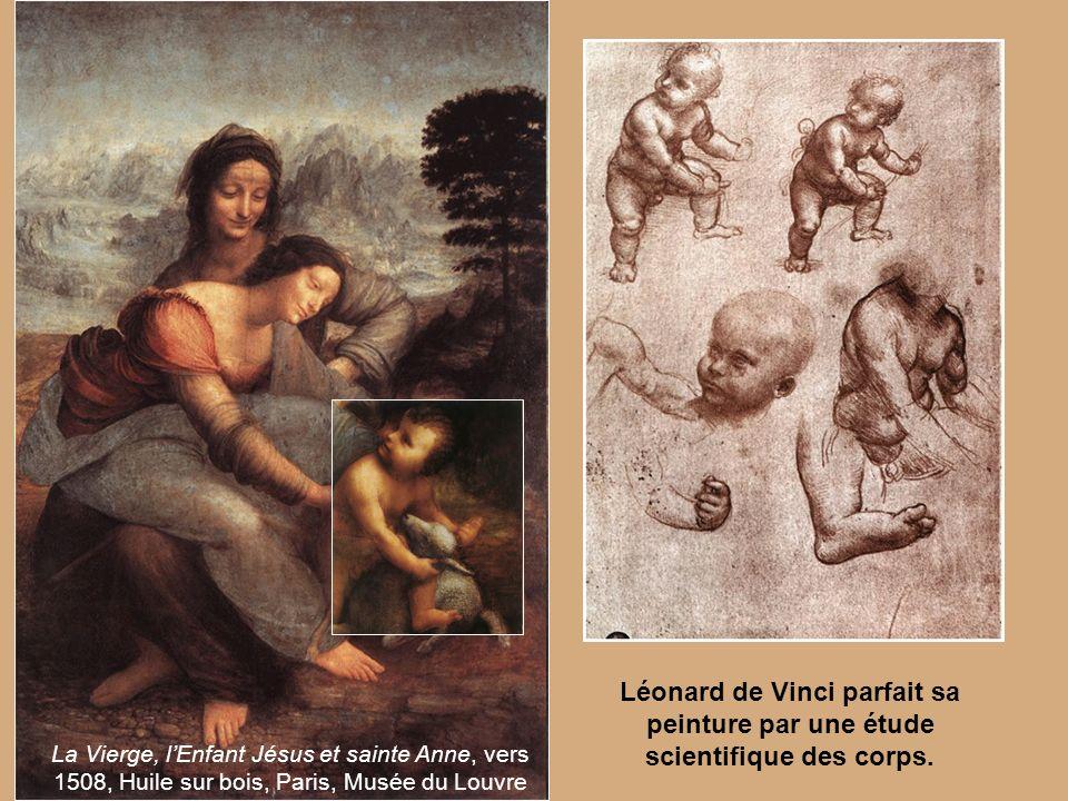 La Vierge, lEnfant Jésus et sainte Anne, vers 1508, Huile sur bois, Paris, Musée du Louvre Léonard de Vinci parfait sa peinture par une étude scientif