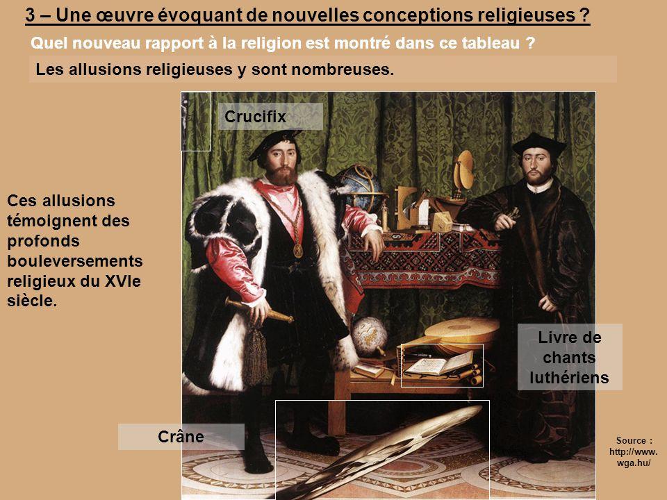 3 – Une œuvre évoquant de nouvelles conceptions religieuses ? Quel nouveau rapport à la religion est montré dans ce tableau ? Les allusions religieuse