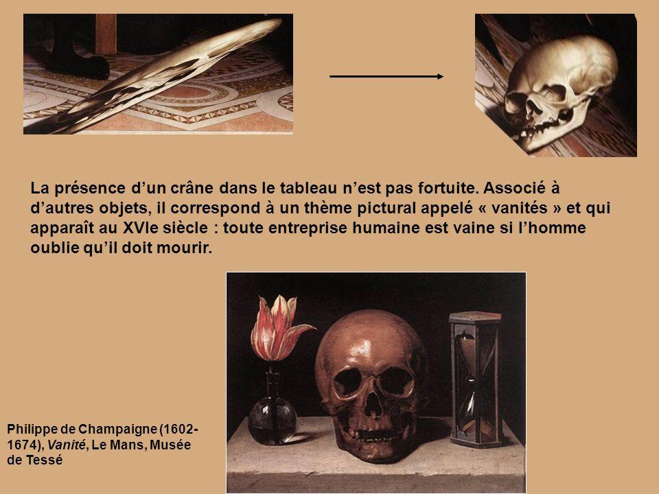 La présence dun crâne dans le tableau nest pas fortuite. Associé à dautres objets, il correspond à un thème pictural appelé « vanités » et qui apparaî