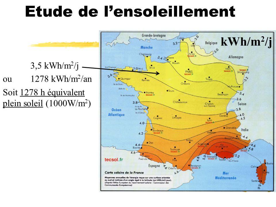 Etude de lensoleillement kWh/m 2 /j 3,5 kWh/m 2 /j ou 1278 kWh/m 2 /an Soit 1278 h équivalent plein soleil (1000W/m 2 )