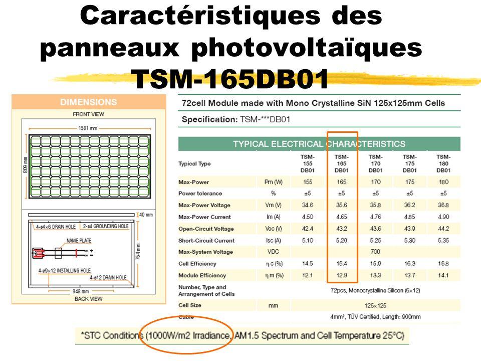 Caractéristiques des panneaux photovoltaïques TSM-165DB01