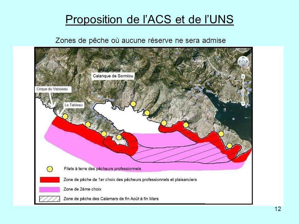 12 Proposition de lACS et de lUNS Zones de pêche où aucune réserve ne sera admise
