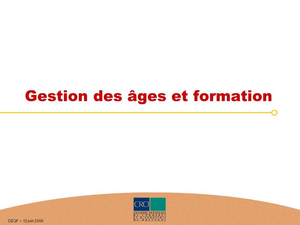 Gestion des âges et formation DEQF – 15 juin 2006