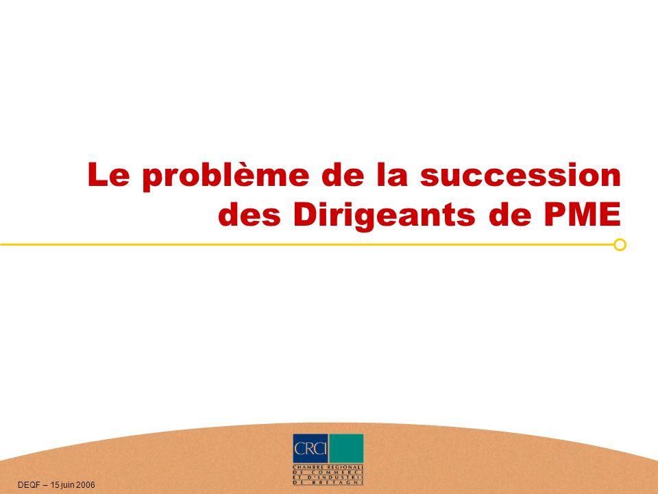 Le problème de la succession des Dirigeants de PME DEQF – 15 juin 2006