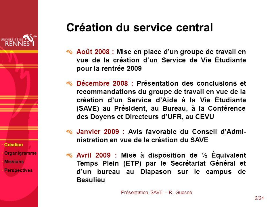 2/24 Création du service central Août 2008 : Mise en place dun groupe de travail en vue de la création dun Service de Vie Étudiante pour la rentrée 20