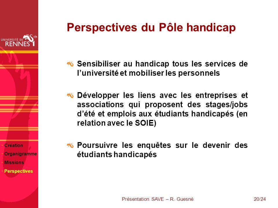 20/24 Perspectives du Pôle handicap Sensibiliser au handicap tous les services de luniversité et mobiliser les personnels Développer les liens avec le