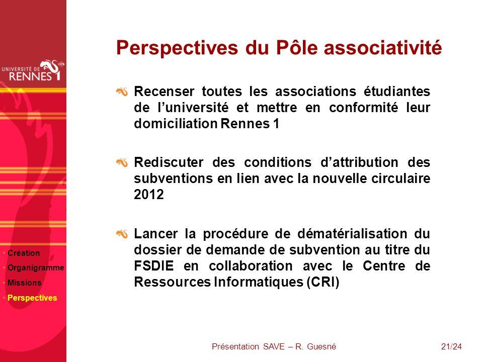 21/24 Perspectives du Pôle associativité Recenser toutes les associations étudiantes de luniversité et mettre en conformité leur domiciliation Rennes