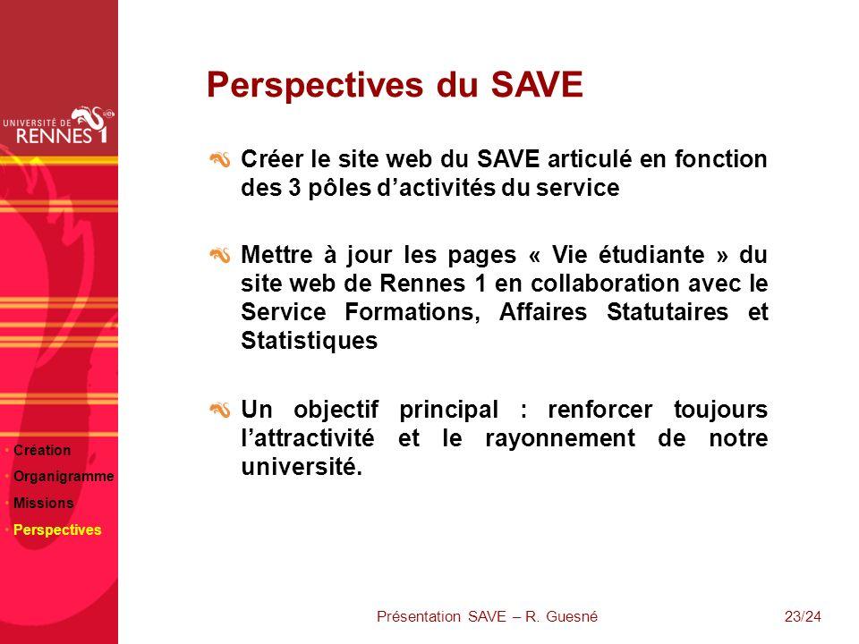 23/24 Perspectives du SAVE Créer le site web du SAVE articulé en fonction des 3 pôles dactivités du service Mettre à jour les pages « Vie étudiante »