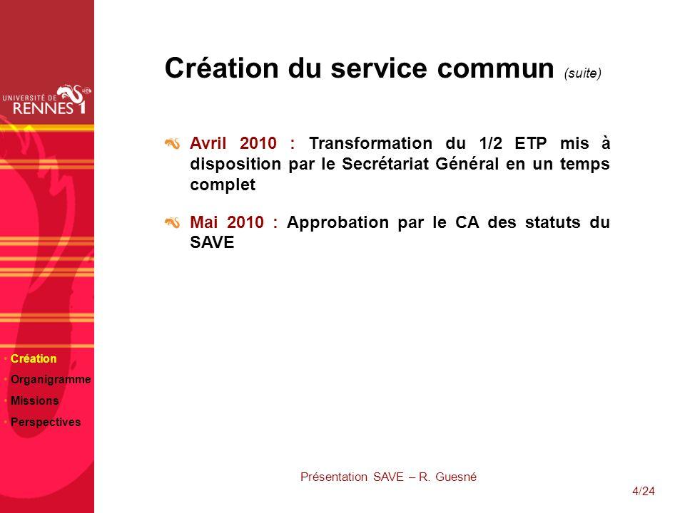 4/24 Création du service commun (suite) Avril 2010 : Transformation du 1/2 ETP mis à disposition par le Secrétariat Général en un temps complet Mai 20