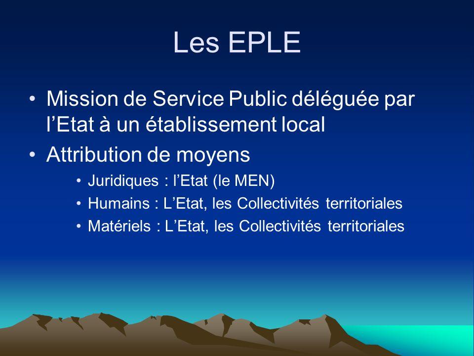 Les EPLE Mission de Service Public déléguée par lEtat à un établissement local Attribution de moyens Juridiques : lEtat (le MEN) Humains : LEtat, les