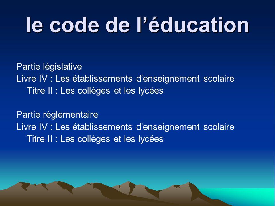 le code de léducation Partie législative Livre IV : Les établissements d'enseignement scolaire Titre II : Les collèges et les lycées Partie règlementa