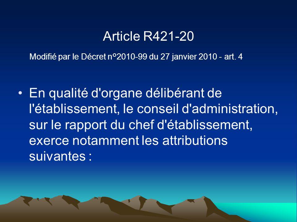 Article R421-20 Modifié par le Décret n°2010-99 du 27 janvier 2010 - art. 4 En qualité d'organe délibérant de l'établissement, le conseil d'administra