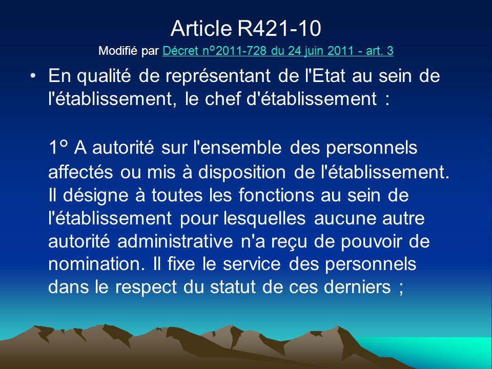 Article R421-10 Modifié par Décret n°2011-728 du 24 juin 2011 - art. 3Décret n°2011-728 du 24 juin 2011 - art. 3 En qualité de représentant de l'Etat