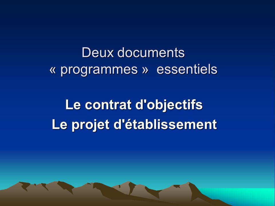 Deux documents « programmes » essentiels Le contrat d'objectifs Le projet d'établissement
