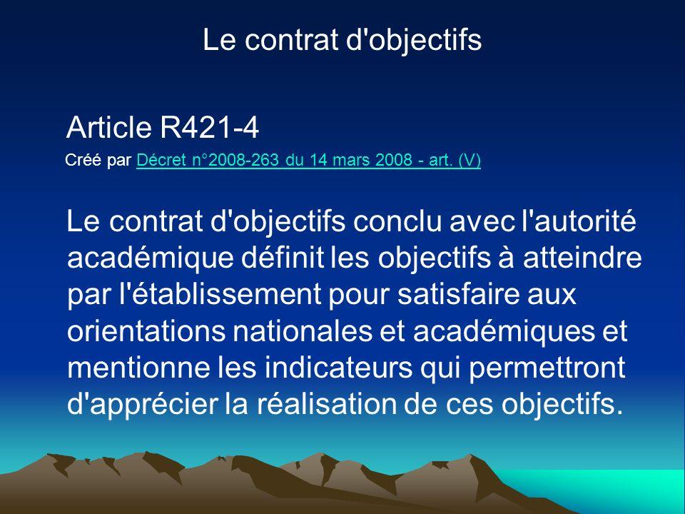 Le contrat d'objectifs Article R421-4 Créé par Décret n°2008-263 du 14 mars 2008 - art. (V)Décret n°2008-263 du 14 mars 2008 - art. (V) Le contrat d'o