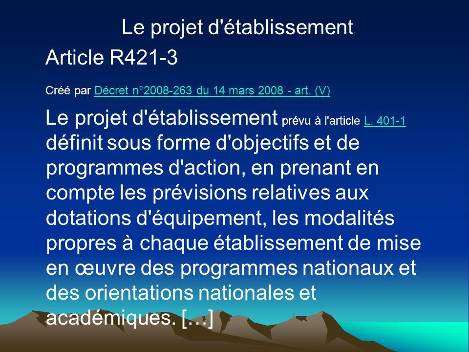 Le projet d'établissement Article R421-3 Créé par Décret n°2008-263 du 14 mars 2008 - art. (V)Décret n°2008-263 du 14 mars 2008 - art. (V) Le projet d