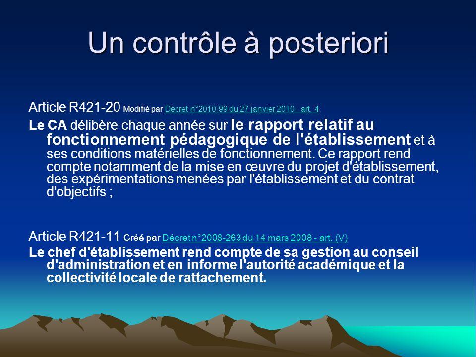 Un contrôle à posteriori Article R421-20 Modifié par Décret n°2010-99 du 27 janvier 2010 - art. 4Décret n°2010-99 du 27 janvier 2010 - art. 4 Le CA dé