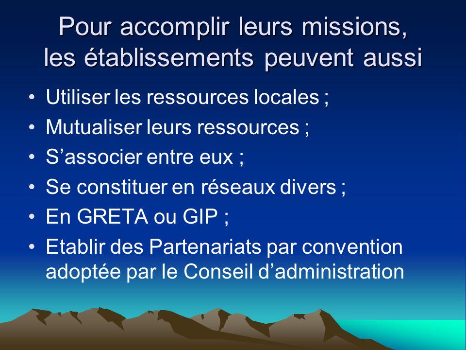 Pour accomplir leurs missions, les établissements peuvent aussi Utiliser les ressources locales ; Mutualiser leurs ressources ; Sassocier entre eux ;