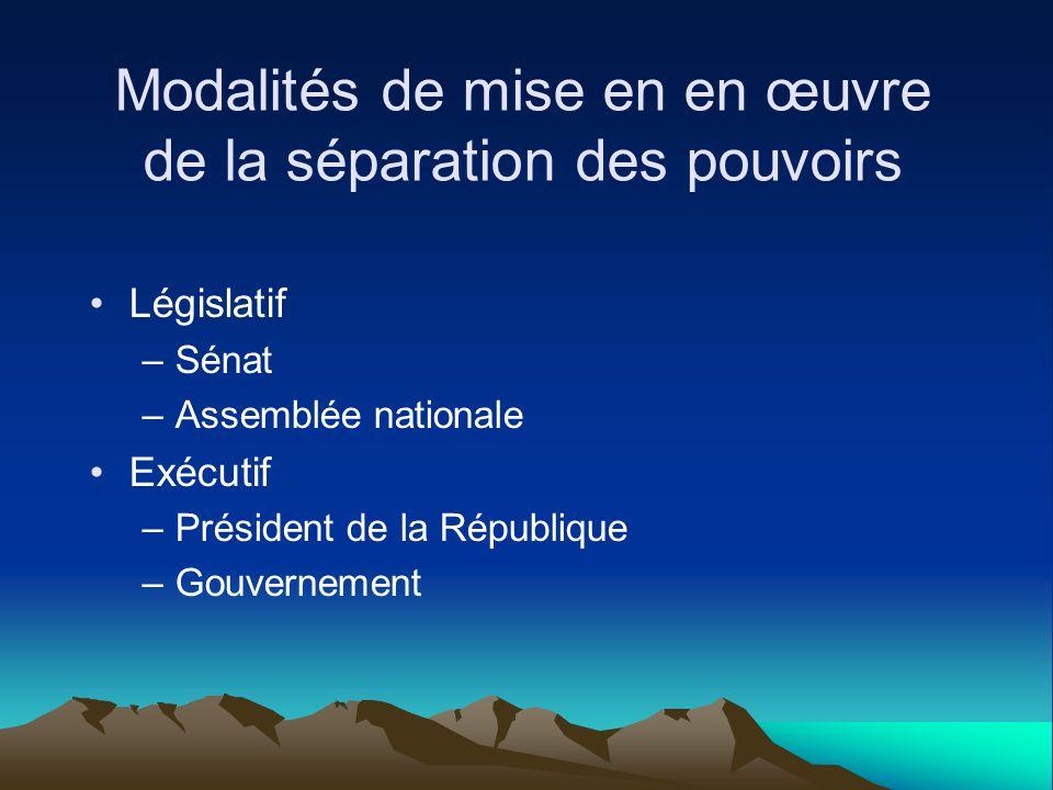 Modalités de mise en en œuvre de la séparation des pouvoirs Législatif –Sénat –Assemblée nationale Exécutif –Président de la République –Gouvernement