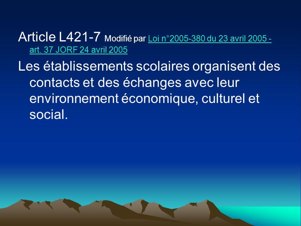Article L421-7 Modifié par Loi n°2005-380 du 23 avril 2005 - art. 37 JORF 24 avril 2005Loi n°2005-380 du 23 avril 2005 - art. 37 JORF 24 avril 2005 Le