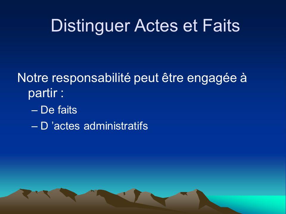 Distinguer Actes et Faits Notre responsabilité peut être engagée à partir : –De faits –D actes administratifs