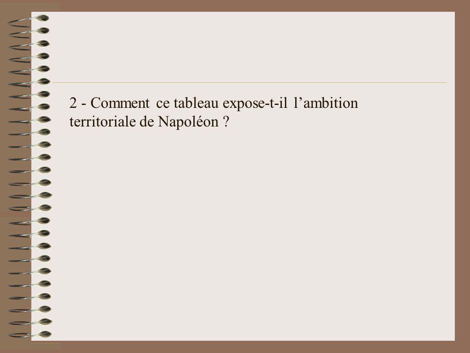 2 - Comment ce tableau expose-t-il lambition territoriale de Napoléon ?