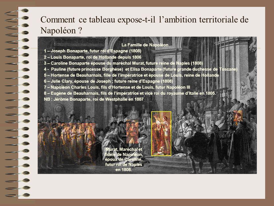 Comment ce tableau expose-t-il lambition territoriale de Napoléon ? La Famille de Napoléon 1 – Joseph Bonaparte, futur roi dEspagne (1808) 2 – Louis B