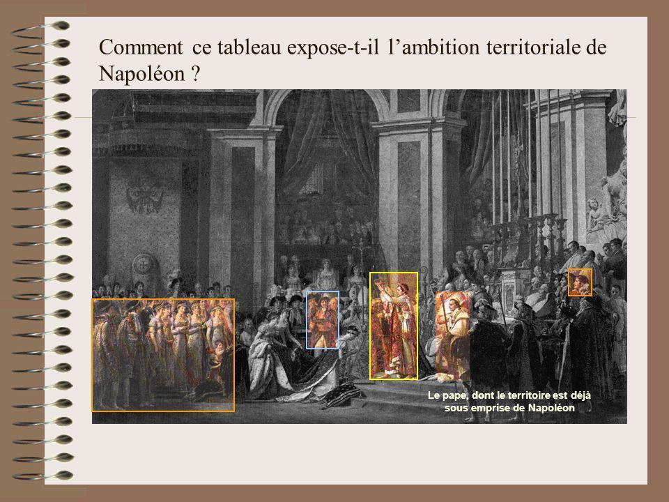 Comment ce tableau expose-t-il lambition territoriale de Napoléon ? Le pape, dont le territoire est déjà sous emprise de Napoléon
