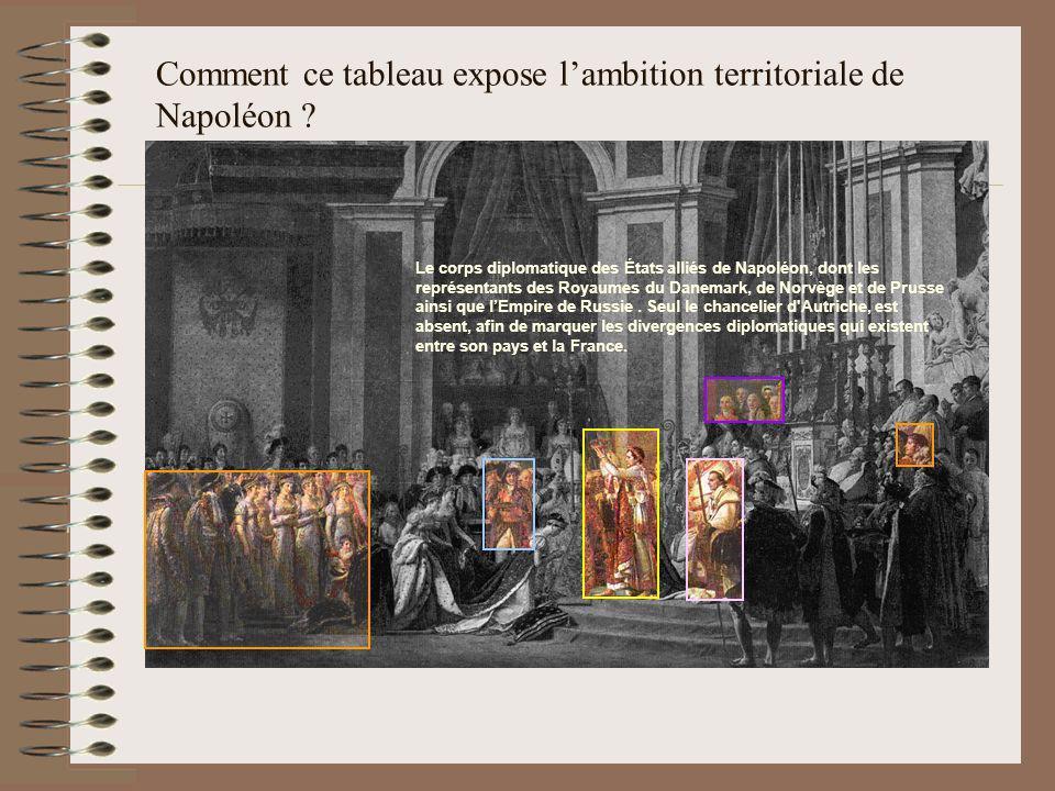 Comment ce tableau expose lambition territoriale de Napoléon ? Le corps diplomatique des États alliés de Napoléon, dont les représentants des Royaumes