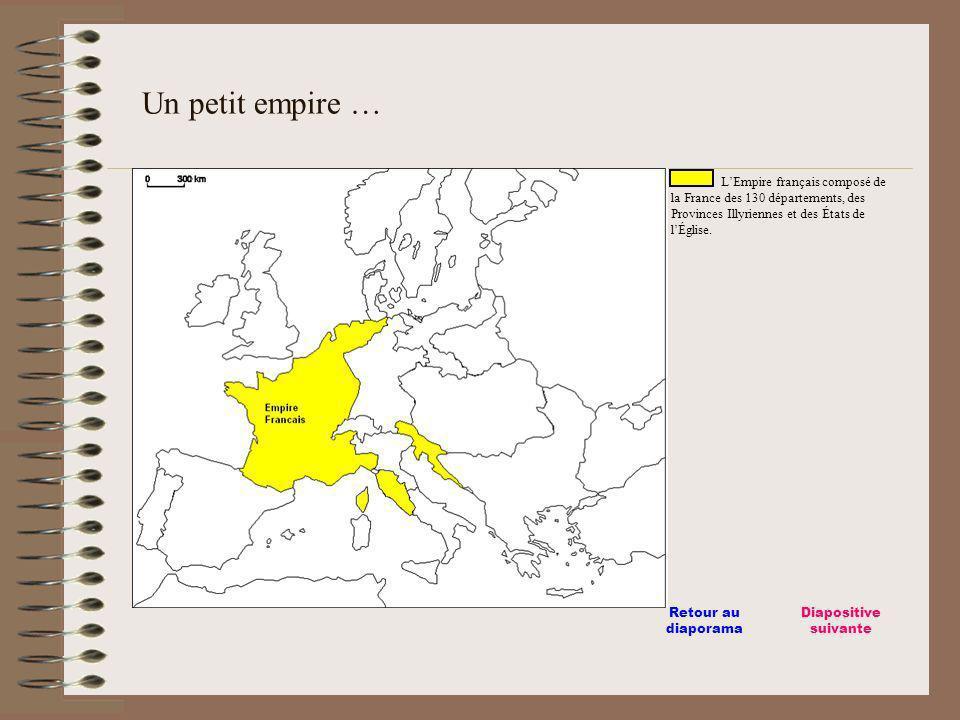 LEmpire français composé de la France des 130 départements, des Provinces Illyriennes et des États de lÉglise. Un petit empire … Diapositive suivante