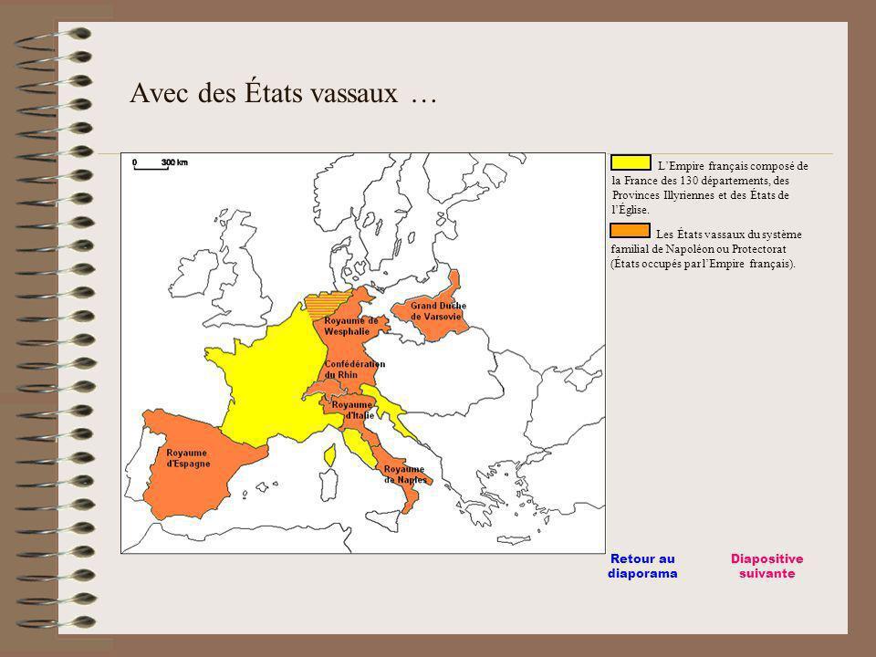 LEmpire français composé de la France des 130 départements, des Provinces Illyriennes et des États de lÉglise. Les États vassaux du système familial d