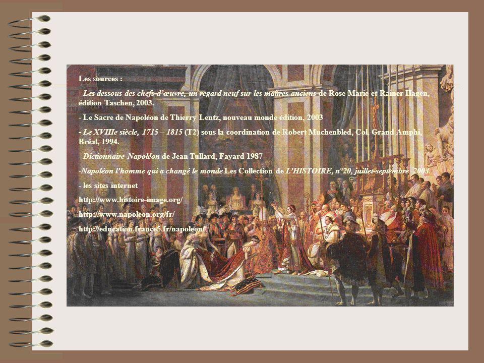 Les sources : - Les dessous des chefs-dœuvre, un regard neuf sur les maîtres anciens de Rose-Marie et Rainer Hagen, édition Taschen, 2003. - Le Sacre