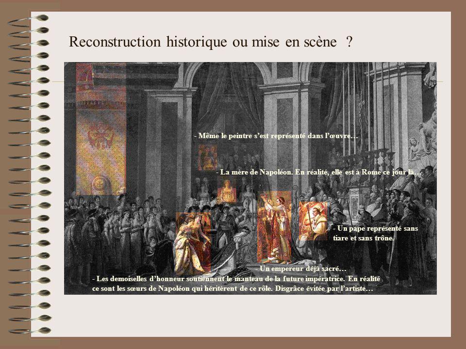 Reconstruction historique ou mise en scène ? - Un empereur déjà sacré… n pape représenté sans tiare et sans trône. - La mère de Napoléon. En réalité,