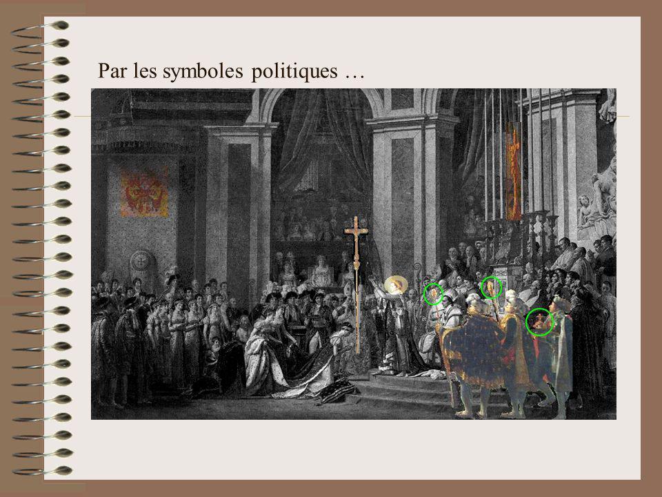 Par un Serment constitutionnel … Napoléon prononce alors le serment constitutionnel, la main posée sur les Évangiles : Je jure de maintenir l intégrité du territoire de la République ; de respecter et de faire respecter les lois du concordat et la liberté des cultes ; de respecter et faire respecter l égalité des droits, la liberté politique et civile, l irrévocabilité des ventes des biens nationaux ; de ne lever aucun impôt, de n établir aucune taxe qu en vertu de la loi ; de maintenir l institution de la légion d honneur ; de gouverner dans la seule vue de l intérêt, du bonheur et de la gloire du peuple français.