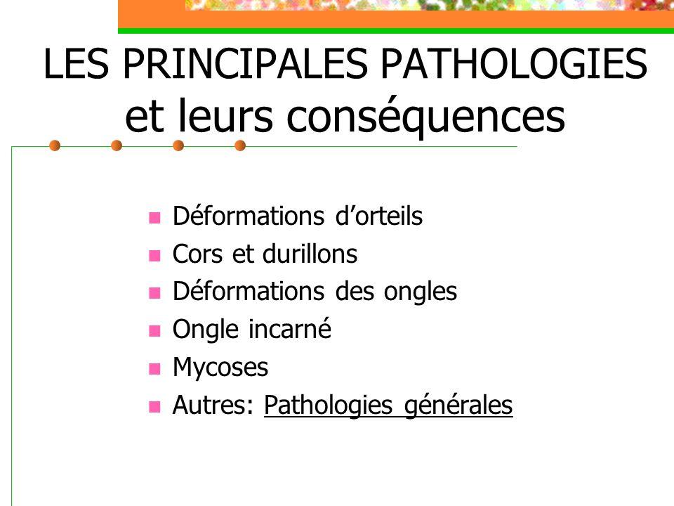 Les pathologies générales demandant une surveillance particulière au niveau des pieds Le diabète: Lartérite Les troubles veineux Les dermatoses (eczéma, psoriasis…)