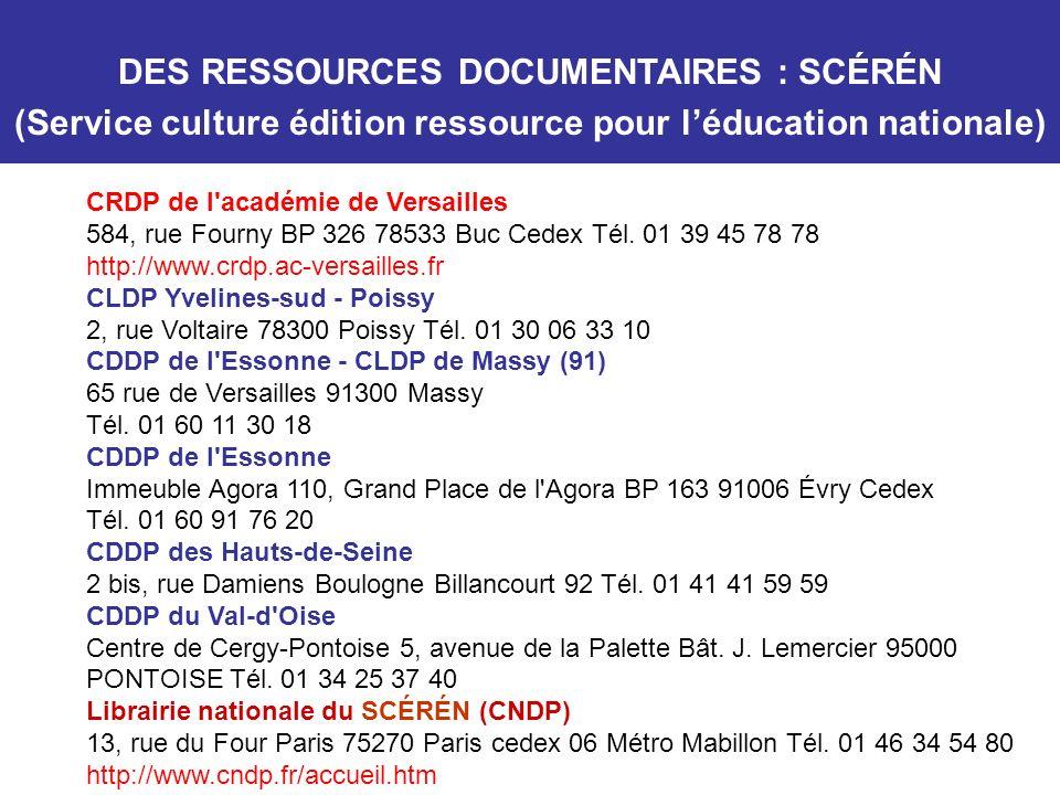 CRDP de l'académie de Versailles 584, rue Fourny BP 326 78533 Buc Cedex Tél. 01 39 45 78 78 http://www.crdp.ac-versailles.fr CLDP Yvelines-sud - Poiss