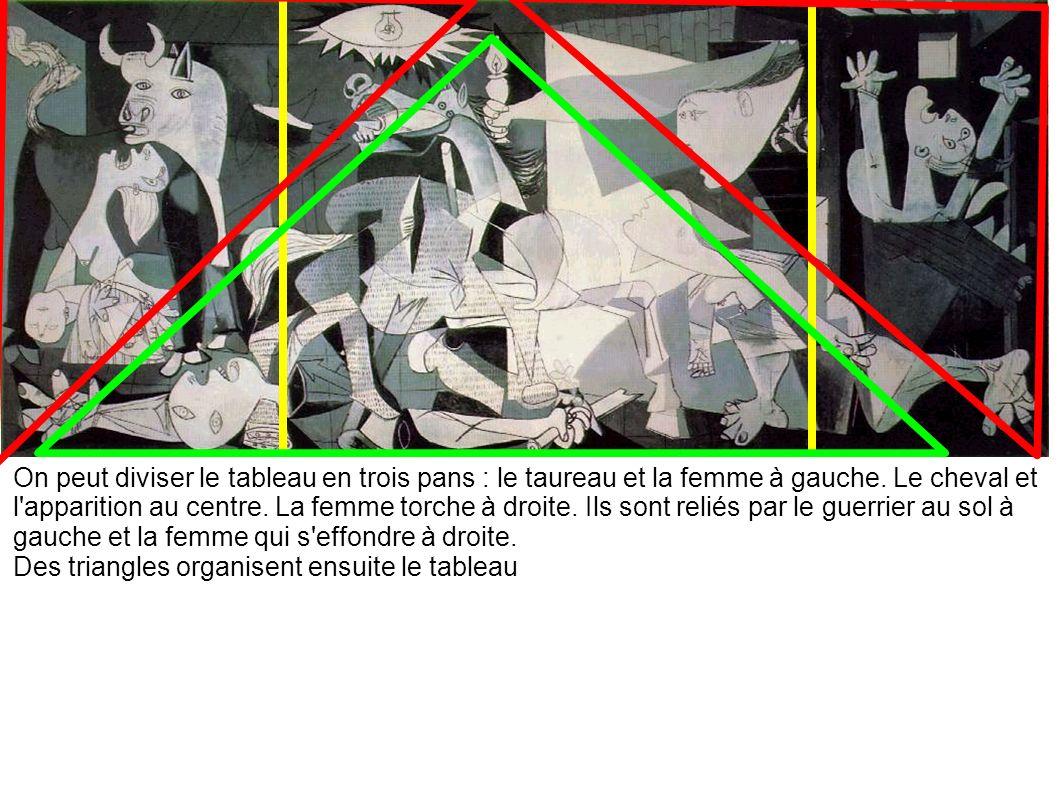 On peut diviser le tableau en trois pans : le taureau et la femme à gauche. Le cheval et l'apparition au centre. La femme torche à droite. Ils sont re