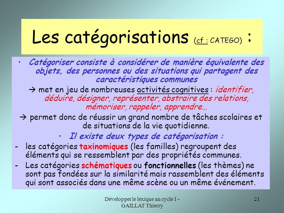 Développer le lexique au cycle I - GAILLAT Thierry 21 Les catégorisations (cf : CATEGO) : Catégoriser consiste à considérer de manière équivalente des