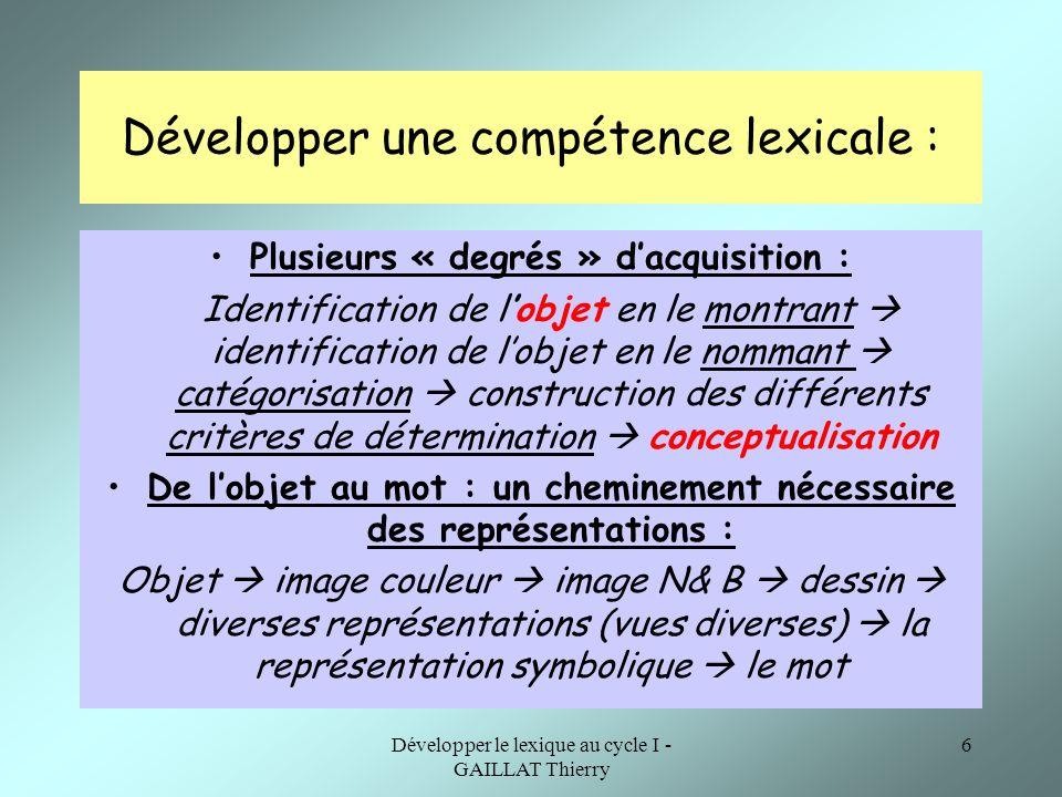 Développer le lexique au cycle I - GAILLAT Thierry 6 Développer une compétence lexicale : Plusieurs « degrés » dacquisition : Identification de lobjet