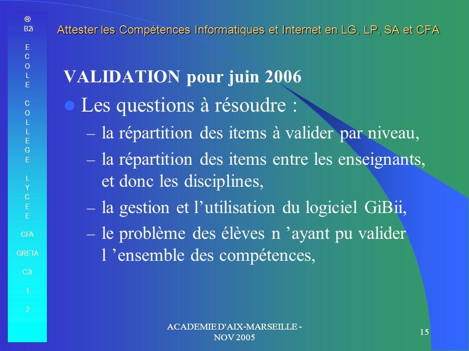 ® B2i E C O L E C O L E G E L Y C E CFA GRETA C2i 1 2 ACADEMIE D'AIX-MARSEILLE - NOV 2005 15 Attester les Compétences Informatiques et Internet en LG,
