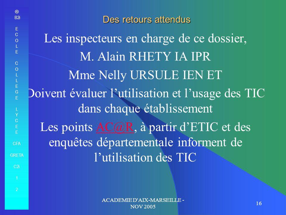 ACADEMIE D'AIX-MARSEILLE - NOV 2005 16 Des retours attendus Les inspecteurs en charge de ce dossier, M. Alain RHETY IA IPR Mme Nelly URSULE IEN ET Doi