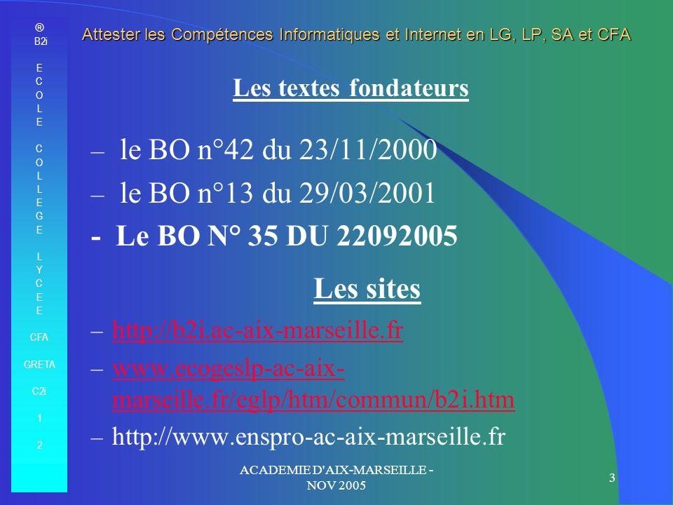 ® B2i E C O L E C O L E G E L Y C E CFA GRETA C2i 1 2 ACADEMIE D'AIX-MARSEILLE - NOV 2005 3 Les textes fondateurs – le BO n°42 du 23/11/2000 – le BO n