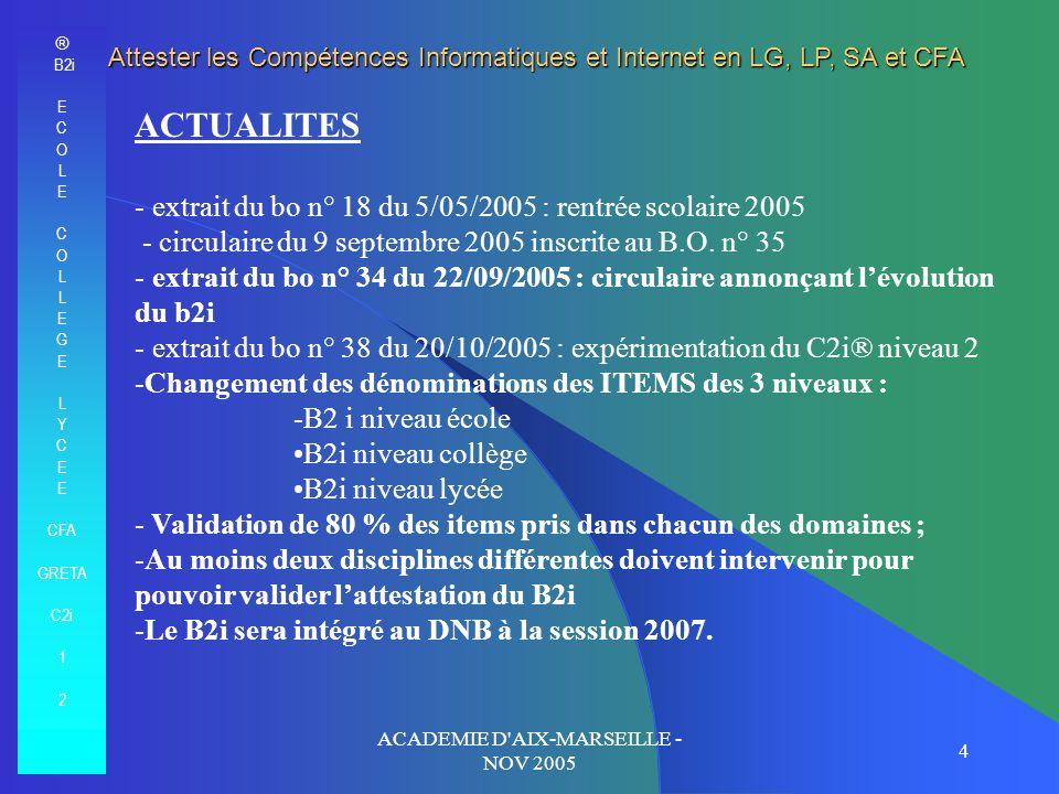 ACADEMIE D AIX-MARSEILLE - NOV 2005 5 BO du 22 septembre 2005 « …il est indispensable […] que soit organisée une politique daccompagnement du B2i dans chaque académie, en sappuyant sur le réseau des coordinateurs établissement, afin notamment de favoriser linformation sur les ressources académiques et nationales disponible sur les deux sites officiels www.eduscol.education.fr/b2i www.educnet.education.fr/ « il est recommandé de désigner un coordinateur pour les technologies de linformation et de la communication dans chaque établissement.