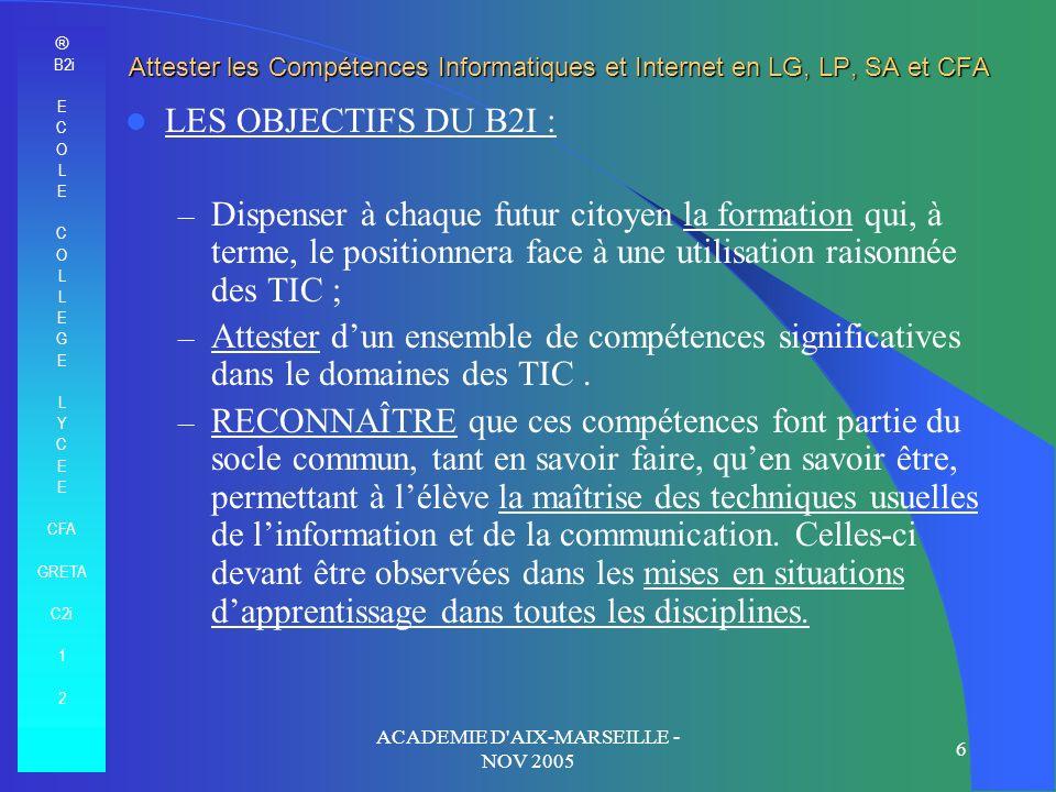 ® B2i E C O L E C O L E G E L Y C E CFA GRETA C2i 1 2 ACADEMIE D'AIX-MARSEILLE - NOV 2005 6 Attester les Compétences Informatiques et Internet en LG,