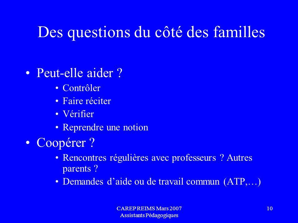 CAREP REIMS Mars 2007 Assistants Pédagogiques 10 Des questions du côté des familles Peut-elle aider ? Contrôler Faire réciter Vérifier Reprendre une n