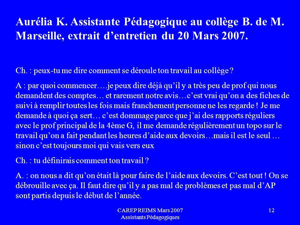 CAREP REIMS Mars 2007 Assistants Pédagogiques 12 Aurélia K. Assistante Pédagogique au collège B. de M. Marseille, extrait dentretien du 20 Mars 2007.