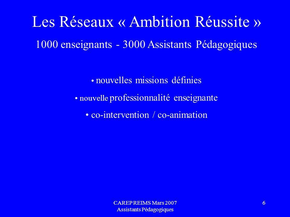CAREP REIMS Mars 2007 Assistants Pédagogiques 6 Les Réseaux « Ambition Réussite » 1000 enseignants - 3000 Assistants Pédagogiques nouvelles missions d